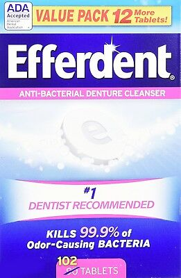 Efferdent Complete Clean Anti-Bacterial Denture Cleanser Tablets, 102 Count