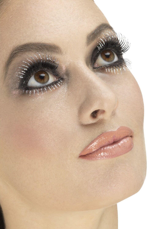 Ladies Silver Glitter False Eyelashes Burlesque Drag Queen Hen Do