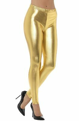 80's Fashion Gold Leggings Wet Look Stretch Fabric Costume Leggings (80's Look Kostüm)