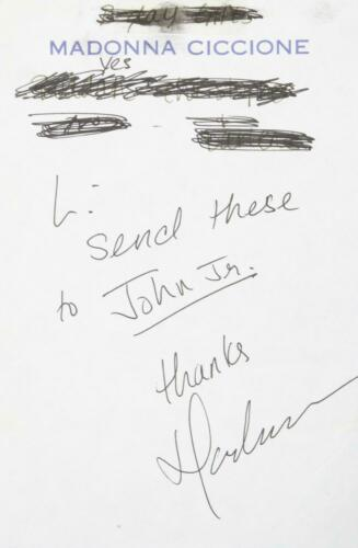 MADONNA SIGNED AND INSCRIBED NOTE -- RARE