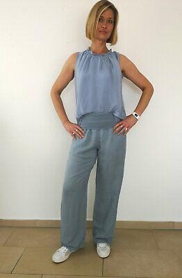 Gerades Bein Leinen Hose (Julia Wang 100 % Leinenhose Sommerhose Viskosebund gerades Bein Graublau Gr. L)