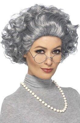 Herren Damen Instant Alt Damen Oma Herrenabend Hen Kostüm Kleid Outfit Satz (Alte Dame Kostüm Brille)