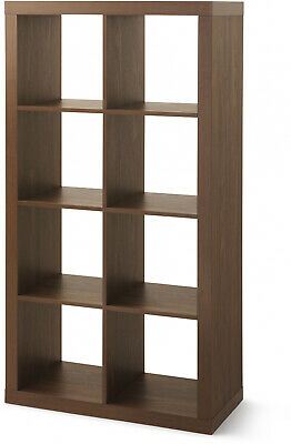 8-Shelf Tall Wood Display Shelves, 4x2 Cube Bookcase Storage Console, 9 Colors - Tall Cube Storage