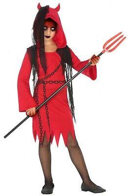Mädchen-rot Schwarz Teufel Dämon Gruselig Halloween Kostüm 3-12 (Dämon Kostüm Mädchen)