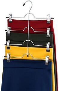 ZOBER Space Saving 4 Tier Trouser Skirt Hanger (Set of 3) Sturdy Luxurious Chrom
