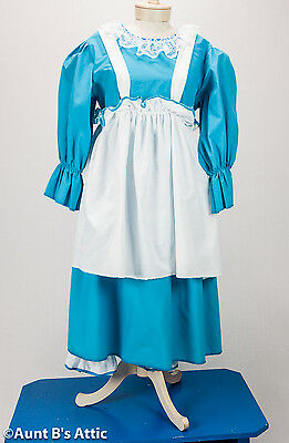 Baby Doll Costume Ladies 3 Piece Turquoise & White Dress Bloomers Apron Lg - Baby Doll Dress Costume