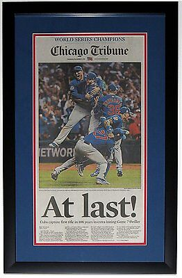Chicago Cubs 2016 World Series Tribune Newspaper 11 3 16 Professionally Framed