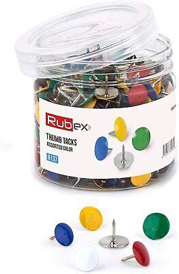 Rubex Push Pin Colorful Push Pins Assorted Plastic Head Standard Thumb Tacks 500