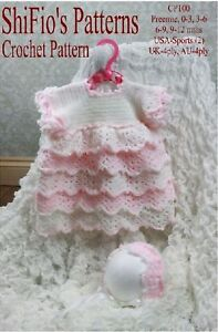 CROCHET PATTERN for BABY GIRL LAYERED DRESS & HAT 4 SIZES #100 NOT CLOTHES