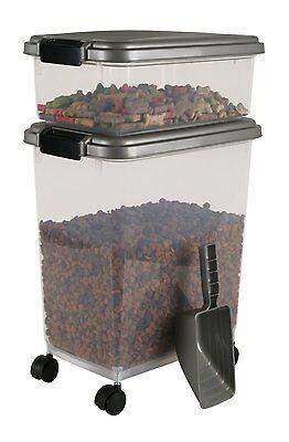 New Airtight Pet Food Storage Combo Dog Treat Container Organizer Holder