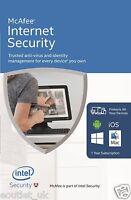 Mcafee Sicurezza Internet 2016/2017 1 Anno Illimitato Utente Pc Anti Virus - inter - ebay.it