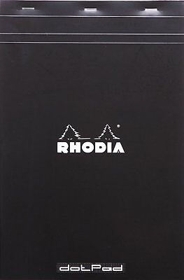 Rhodia Dot Pad - Black - Matrice Points 5mm - 80 Sheets 8.25 X 12.5 - R19559 New