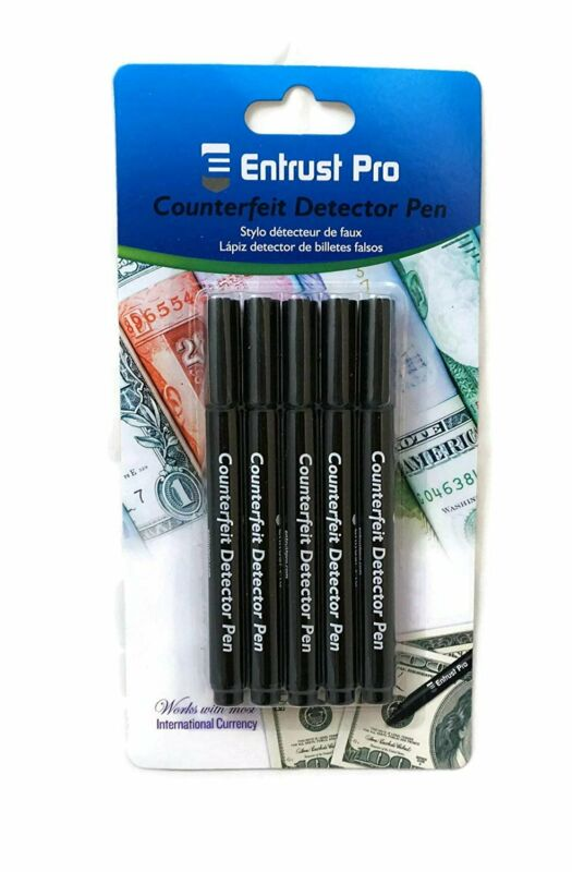 Counterfeit Money Detector Pen Marker (5 Pack ) Round Tip