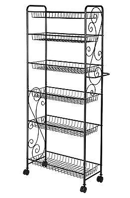 6 Tier Freestanding Metal Bathroom Kitchen Storage Shelf Rack with Wheels Black