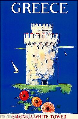 Greece Salonica White Tower Greek Vintage Europe Travel Advertisement Poster