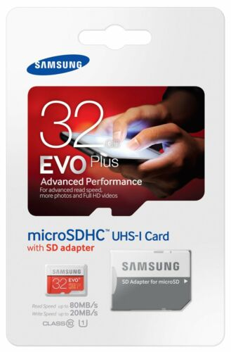 Samsung EVO+ 32GB 80MB/s Class 10 Micro SD SDHC Speicherkart Adp Aug
