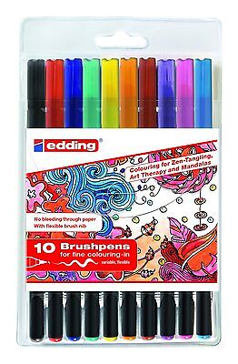 10x Edding Brushpen 1340 Tangle Brushpen Set sortiert Pinselstifte Fasermaler