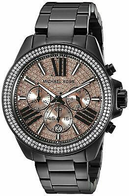 New Michael Kors MK5879 Womens Wren Black Rose Glitz Chronograph  Watch 42MM
