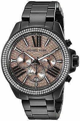 New Michael Kors MK5879 Womens Wren Black Rose Glitz Chronograph Watch 42MM