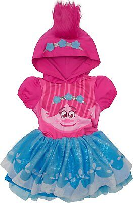 Trolls Poppy Toddler Girls' Costume Dress with Hood and Fur Hair, Pink and Blue - Costume With Blue Dress