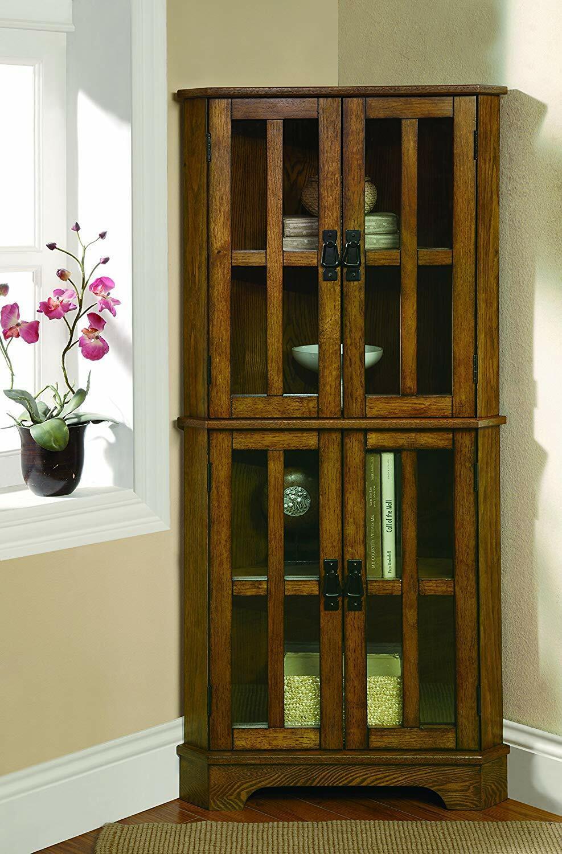 Wooden Corner Curio Cabinet Glass Doors Display Shelves Stor