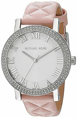 Michael Kors MK2617 Women's Norie Pink Quilted Leather Crystal Watch