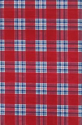 Red White and Blue Tartan Plaid Vinyl Flannel Back Tablecloth 60 Round