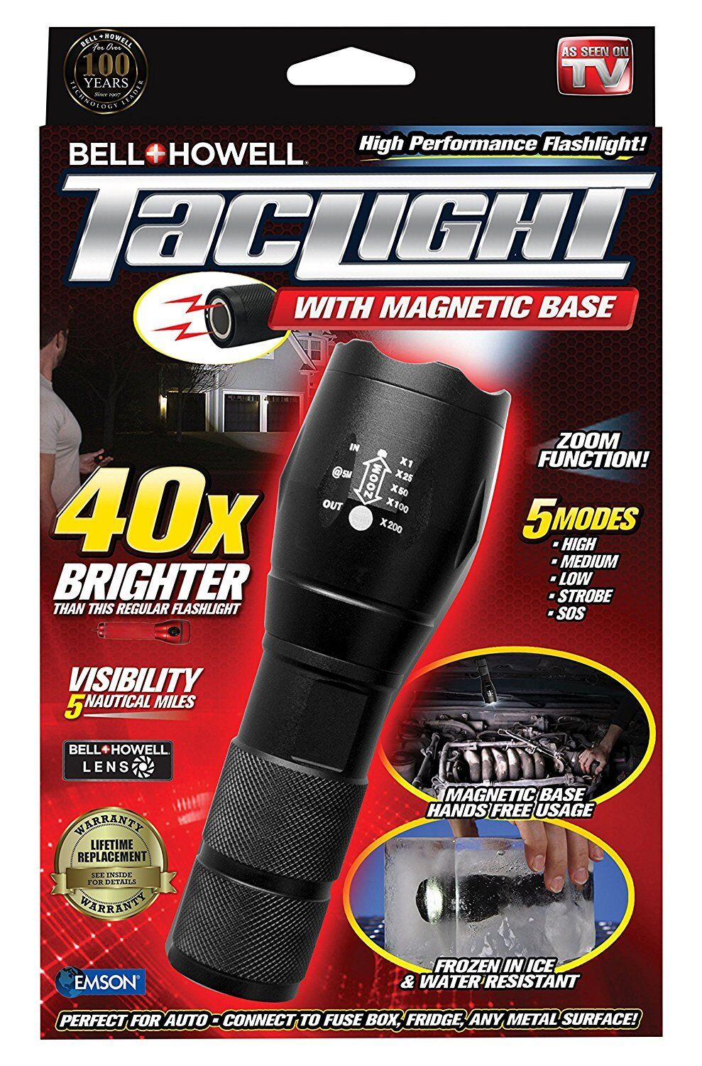 Bell and Howell Super Bright Tactical LED Flashlight with Magnetic Base – NEW!