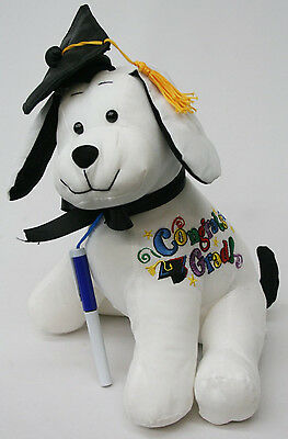 "Big Graduation Autograph 15"" Stuffed Dog  with Pen Graduation Party Gift New"