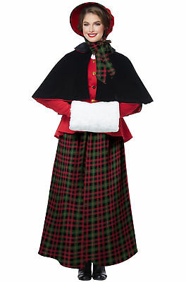 Victorian Inspired Holiday Caroler Woman Adult Women's Christmas Costume XS-XL (Caroler Costumes)
