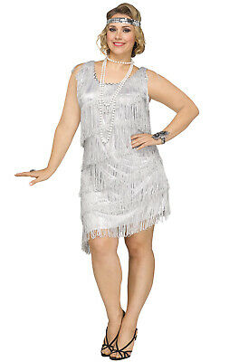 Roaring 20s Prohibition Shimmery Flapper 1920s Plus Size Costume (Silver)