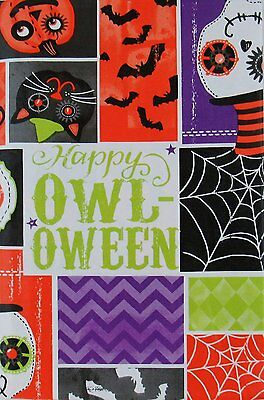 Happy Owl Oween Spooky Skull Halloween Vinyl Flannel Back Tablecloth 60 Round - Round Halloween Tablecloth