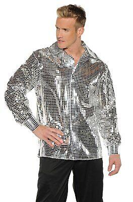 Disco Ball Silver Shirt Sequin Costume 70s Saturday Night Fever Dance Pimp - Disco Ball Costumes