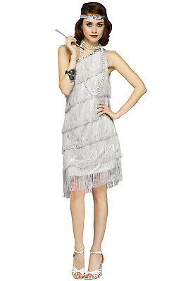 Roaring 20s Prohibition Shimmery Flapper 1920s Adult Costume (Silver)