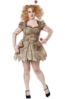 Plus Size Rag Doll Halloween Costumes (Voodoo Dolly Plus Size 2X Women's Costume, Womens Voodoo Broken Rag Doll)