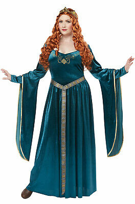 Brand New Renaissance Lady Guinevere Plus Size Costume (Teal) (Lady Costume)