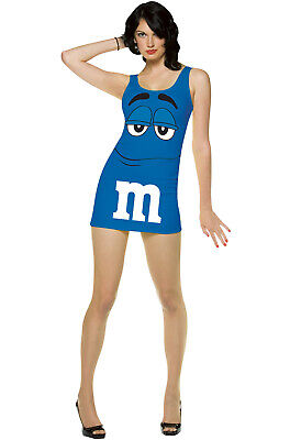 M&m Costume Dress (Brand New M&M'S Candy Blue Tank Dress Up Outfit Adult)