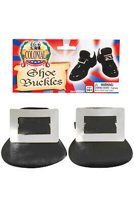 Brand New Colonial Pilgrim Shoe Buckles Costume Accessory (Silver) - Colonial Shoe Buckles