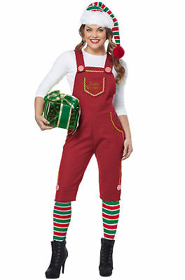 Adult Women's Christmas Holiday Costume Red Overalls SM-XL (Santa Elfe)