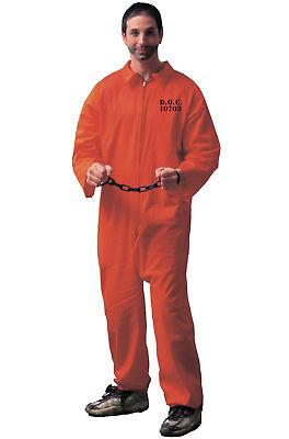 ADULT MENS CONVICT PRISONER JAIL BIRD JAILBIRD COSTUME ORANGE JUMPSUIT - Jail Bird Costumes