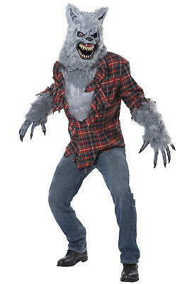 Brand New Big Bad Wolf Gray Lycan Werewolf Adult Costume](Bad Wolf Costume)
