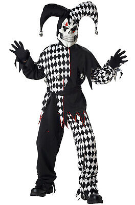 Brand New Scary Bloody Evil Jester Clown Boys Children Costume (Black/White)](Scary Clown Kids Costumes)