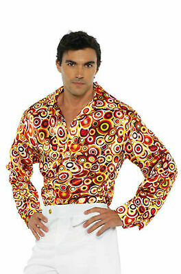 70S 80S MENS DISCO SATIN SHIRT COSTUME DANCE SATURDAY NIGHT FEVER PIMP CIRCLE - 80's Night Kostüm