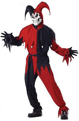 Brand New Adult Men Evil Jester Scary Skull Halloween Costume (Red/Black)