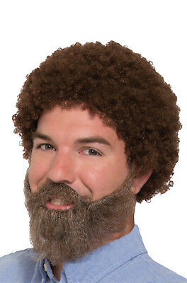 Bob Wig Beard And Moustache 80s Joy Of Painting Painter Costume Afro Fro Gray - Grey Moustache And Wig
