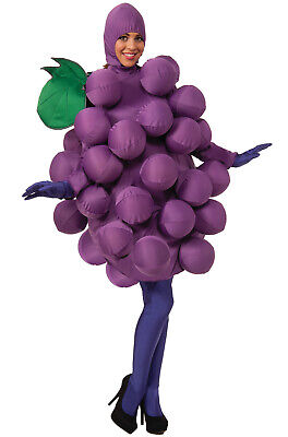 Brand New Purple Grapes Delicious Fruit Adult Costume - Grape Halloween Costumes