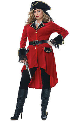 Ladies Captain Hook Costume (High Seas Heroine Pirate Captain Hook Inspired Plus Size)