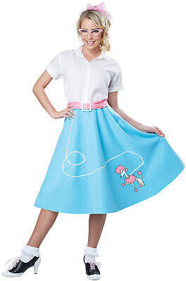 Brand New 50s Blue Poodle Skirt Grease Pink Ladies Adult Costume - 50s Grease
