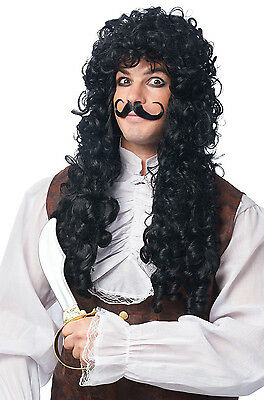 ADULT MALE MENS BLACK LONG CURLY PIRATE CAPTAIN HOOK COSTUME WIG W/ MOUSTACHE  - Captain Hook Adult