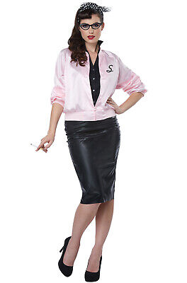 Brand New 50's Satin Varsity Jacket Grease Pink Ladies Adult Costume - 50s Grease